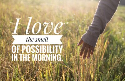 Bild Inspirational motivational quote - I love the smell of possibility in the morning. With warm morning light over the field & young woman hand touch the leaves of paddy in field background.