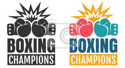 Bild Intage Logo für das Boxen mit Handschuhen