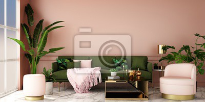 Bild interior design for living area or reception with grey carpet , armchair,plant,cabinet on marble floor background / 3d illustration,3d rendering