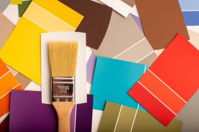 Bild Interior design paint swatches. Pantone pallette reference for home renovations. Paint chips