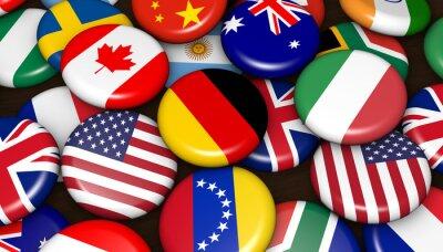 Bild Internationale Weltflaggen Auf Abzeichen