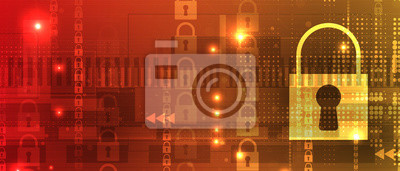 Bild internet digital security technology concept for business background. Lock on circuit board