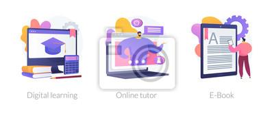 Bild Internet school graduation, professional teacher service, electronic book device icons set. Digital learning, online tutor, e-Book metaphors. Vector isolated concept metaphor illustrations