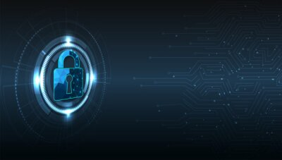 Bild Internet security and Data prevent concept.Security Padlock lock  icon on dark blue background.Technology for online data access defense against hacker and virus.Technology security concept.