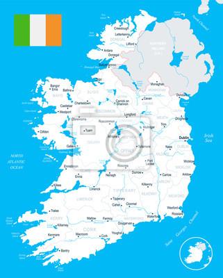 Irland Karte.Irland Karte Detaillierte Vektor Illustration
