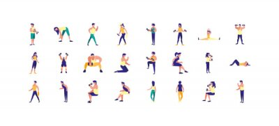 Isolated people doing sport icon set vector design