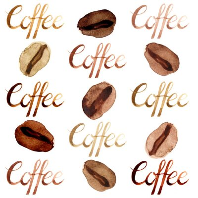 Bild Isolated watercolor illustrated and painted brown coffee beans and lettering pattern set