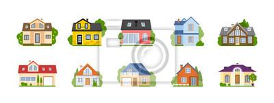 Bild Isoliert Cartoon Häuser gesetzt. Einfache Vorstadthäuser. Konzept der Immobilien, Eigentum und Eigentum.