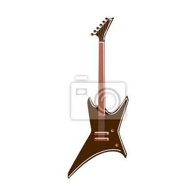 Isoliert elektrische gitarre auf weißem hintergrund. rock-gitarre ...