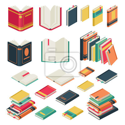 Bild Isometric book collection. Opened and closed books set for school library publishing dictionary textbook magazine vector set