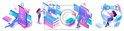 Bild Isometric set of bright concepts on the topic of learning, young people are online education using tablets and phones