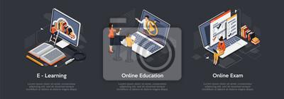 Bild Isometric set of education concept. E-Learning, Online education, online exam.