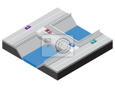 Isometrische Brücke über einen Fluss mit Straßen, Bürgersteige und Autos. Vektor-Illustration für Design der verschiedenen Anwendungen.