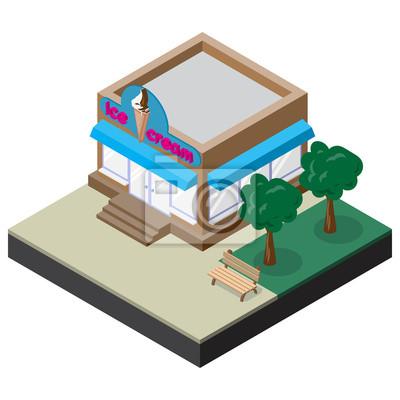 Bild Isometrische Eisdiele mit Bank und Bäume. Vektor-Illustration für Design der verschiedenen Anwendungen.
