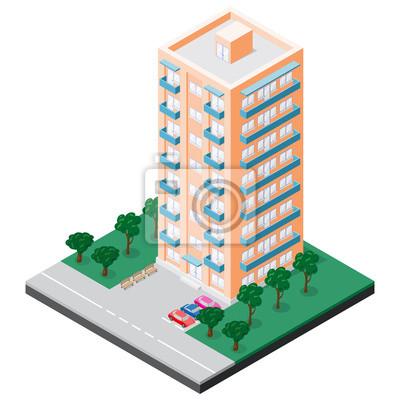 Isometrische mehrstöckige Gebäude mit Balkons, die Bänke, Autos, Bürgersteig und Bäume im Innenhof hat. Vektor-Illustration für Design der verschiedenen Anwendungen.