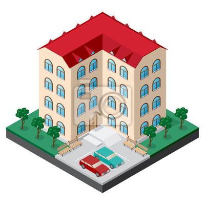 Isometrische mehrstöckigen Gebäudes Innenhof mit Bänken, Autos, Bäume und Rasen. Vektor-Illustration für Design der verschiedenen Anwendungen.