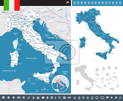 Monaco Italien Karte.Bild Italien Karte Und Flagge Infografische Darstellung