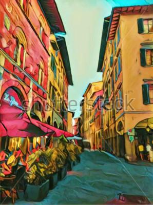 Bild Italienische kleine Straße der Weinlese in Florenz. Traditionelle alte Architektur von Italien. Große größe ölgemälde feine kunst. Moderner Impressionismus gezeichnete Grafik. Kreativer künstlerischer