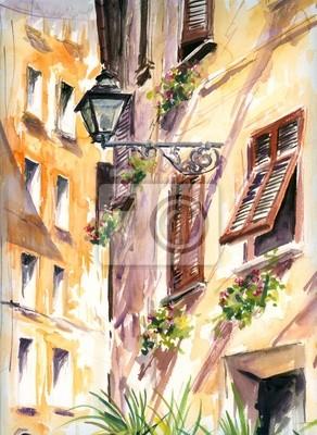 Italienische Straße mit Laterne Aquarell malte.
