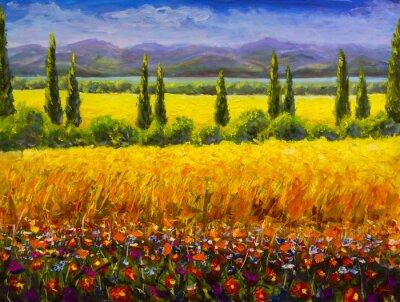 Bild Italienische Toskana-Landschaft des Ölgemäldes Landschaft, grüne Zypressenbüsche, gelbes Feld, rote Blumen, Berge und Kunstwerkbild des blauen Himmels auf Segeltuch