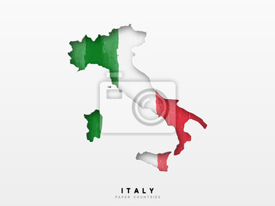 Bild Italy detailed map with flag of country. Painted in watercolor paint colors in the national flag