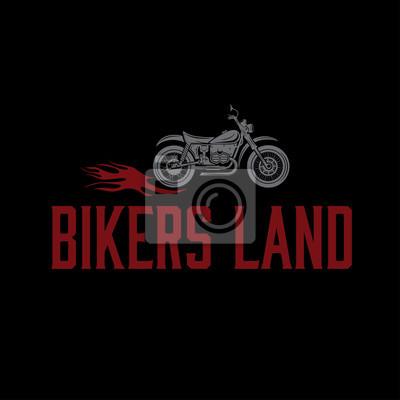Jahrgang motorrad mit flammen grafik-vektor-design-vorlage ...