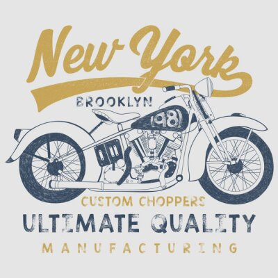 Bild Jahrgang Motorrad Skizze Illustration mit Typografie