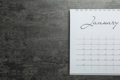 Bild January calendar on grey stone background, top view. Space for text
