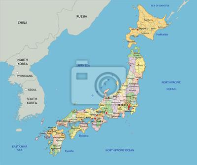Japan Karte.Bild Japan Sehr Detaillierte Bearbeitbare Politische Karte Mit Etikettierung