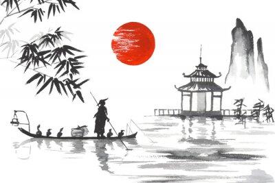 Bild Japan Traditionelle japanische Malerei Sumi-e Kunst Japan Traditionelle japanische Malerei Sumi-e Kunst Mann mit Boot