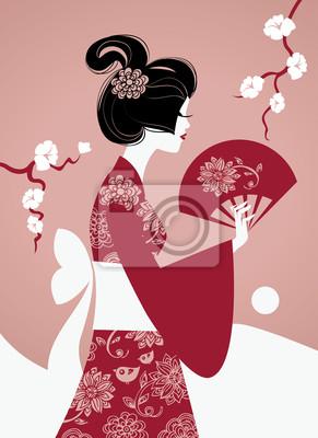 Japanische Mädchen Silhouette