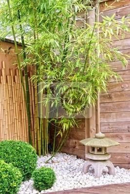 Japanischer Garten Mit Bambus Und Stein Laterne Leinwandbilder