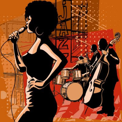 Bild Jazz singer with saxophonist and double-bass player