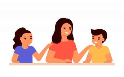 Bild Jealous relationship siblings in family, conflict children and envy for mother. Parent choice darling child, inequality kids. Jealousy in family. Childrens jealousy, resentment. Vector