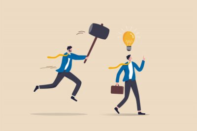 Bild Jealousy colleague, toxic boss kill all ideas never been implemented, envy or dishonesty coworker with unprofessional, businessman got new idea lightbulb but being hit and destroy by colleague behind.