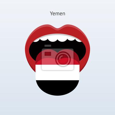 Jemen Sprache. Abstrakt menschliche Zunge.