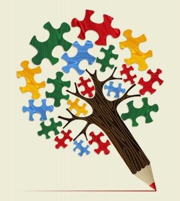 Bild Jigsaw strategisches Konzept Bleistift Baum