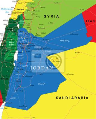 Jordanien Karte.Bild Jordanien Karte