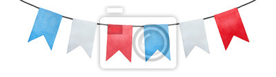 Bild Joyful and positive pennant bunting banner flags illustration. Rectangular shape; sky blue, pure white, bright red colors. Handmade watercolour painting, cut out clip art element for design and decor.