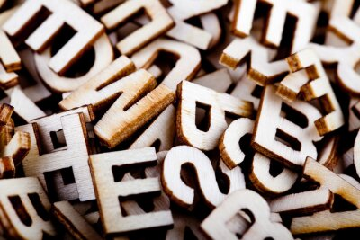 Bild Jumbled Holzbuchstaben hautnah