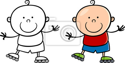 Junge Auf Rollerblades Cartoon Abbildung Leinwandbilder Bilder