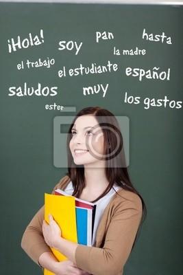 junge frau denkt eine spanische Vokabeln