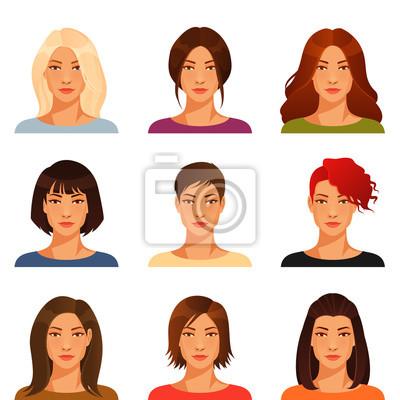 Junge Frau Mit Verschiedenen Frisur Und Farbe Leinwandbilder