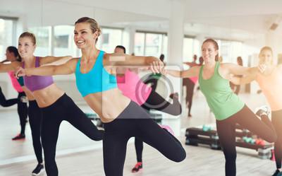 Junge Frauen arbeiten in Aerobic-Klasse