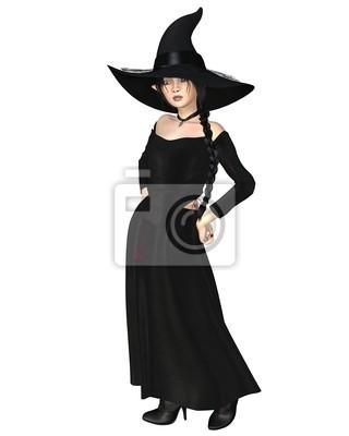 Junge Hexe im schwarzen Hut und Kleid