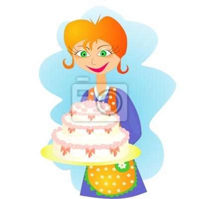 Junge Hubsche Frau Mit Schurze Und Grosse Kuchen Urlaub