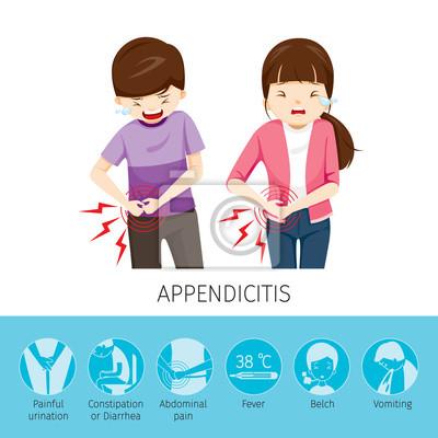 Junge und mädchen bauchschmerzen, weil appendizitis, appendix ...