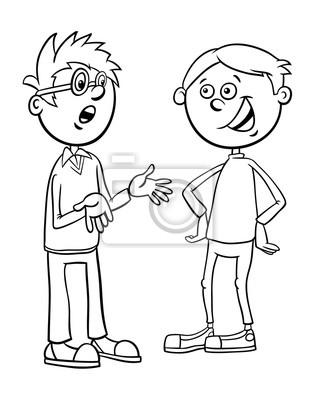 Jungen kind zeichen sprechen cartoon färbung seite leinwandbilder ...