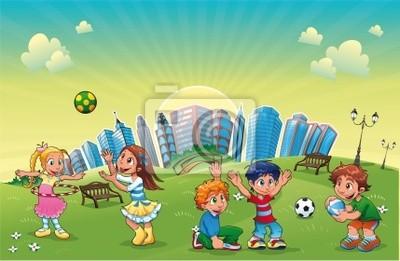 Jungen und Mädchen sind in den Park spielen . Vektor -Szene.