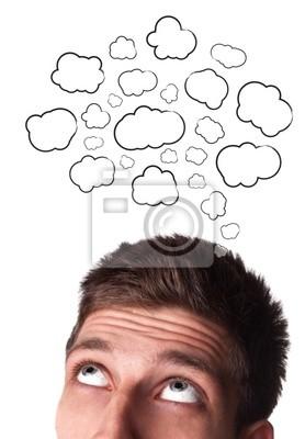 Junger Mann mit Sprechblasen über den Kopf
